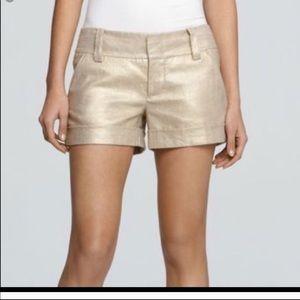Alice and Olivia Gold Metallic Shorts